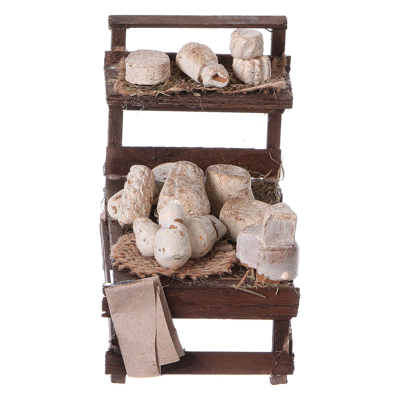 Banchetto legno formaggi terracotta presepe 4