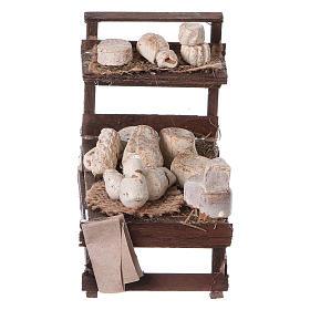 Presepe Napoletano: Banchetto legno formaggi terracotta presepe