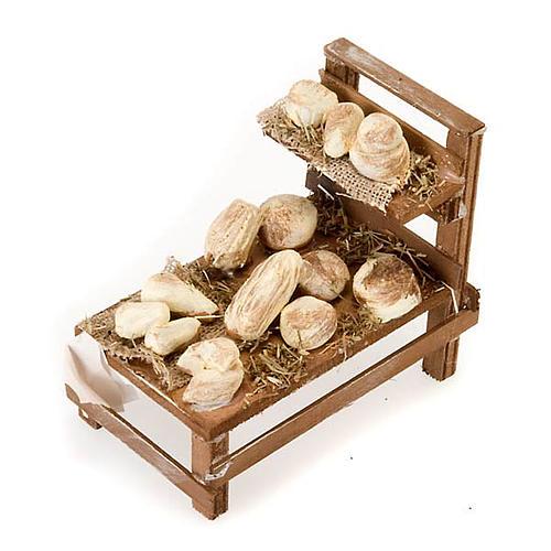 Banchetto legno formaggi terracotta presepe 1