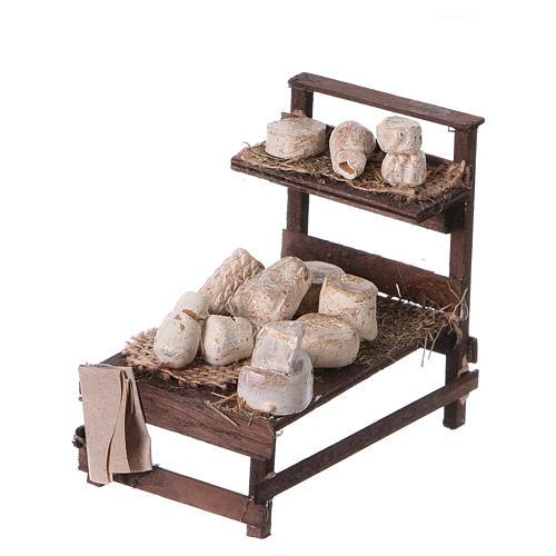 Banchetto legno formaggi terracotta presepe 2