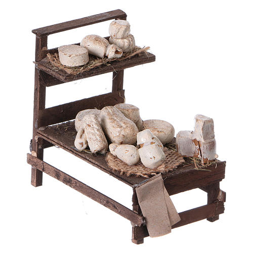 Banchetto legno formaggi terracotta presepe 3