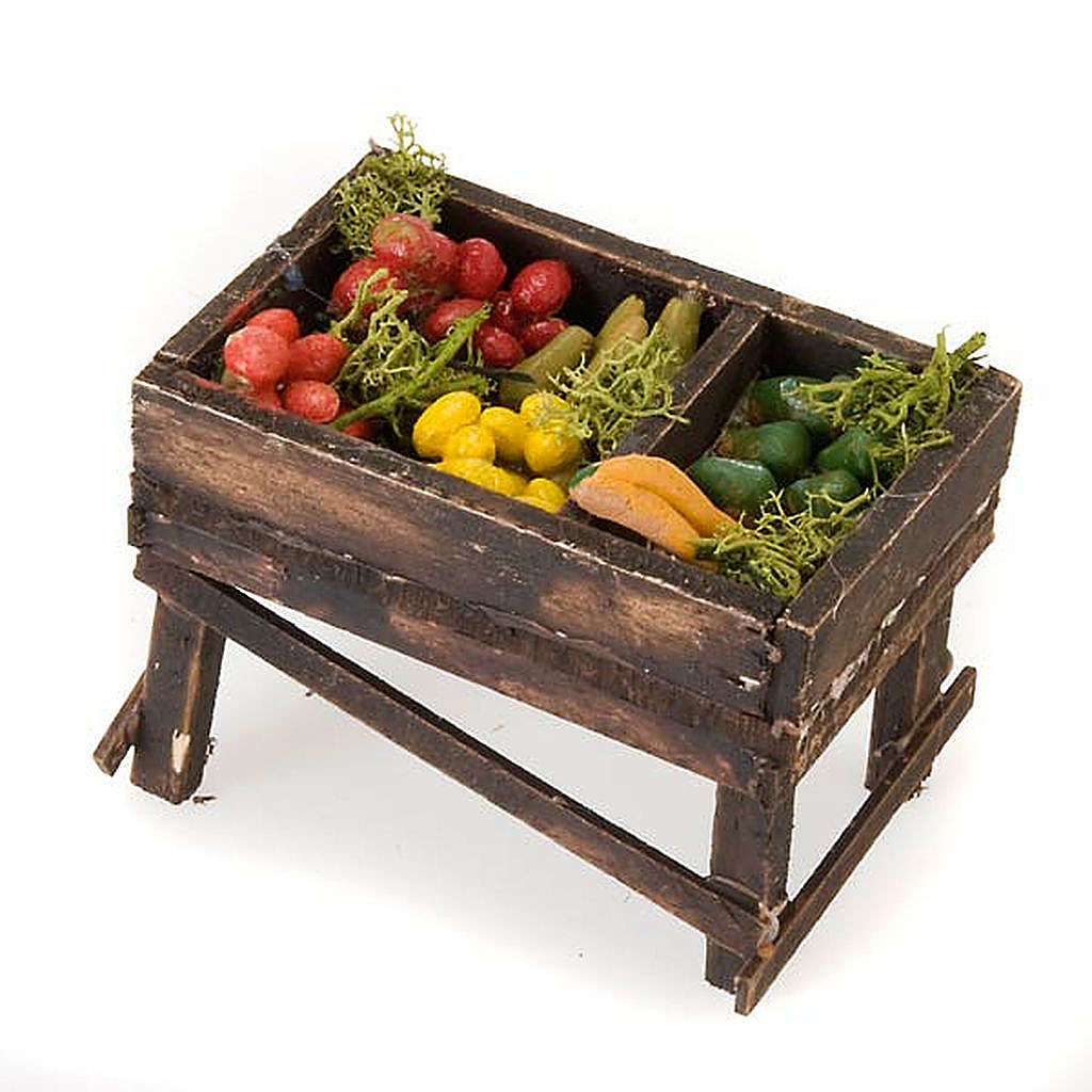 Klein Stand mit Gemüse aus Holz für Krippe 4