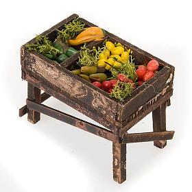 Neapolitanische Krippe: Klein Stand mit Gemüse aus Holz für Krippe