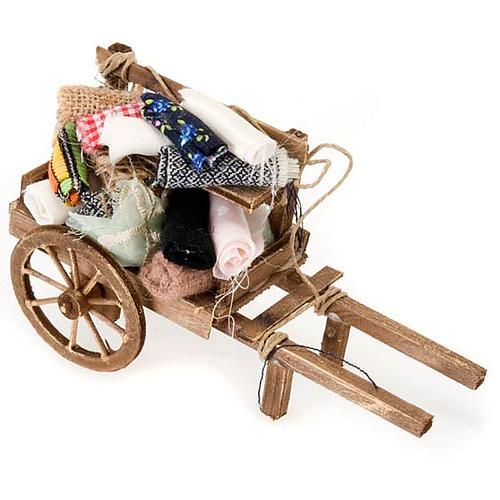 Décor crèche chariot bois avec tissus 1