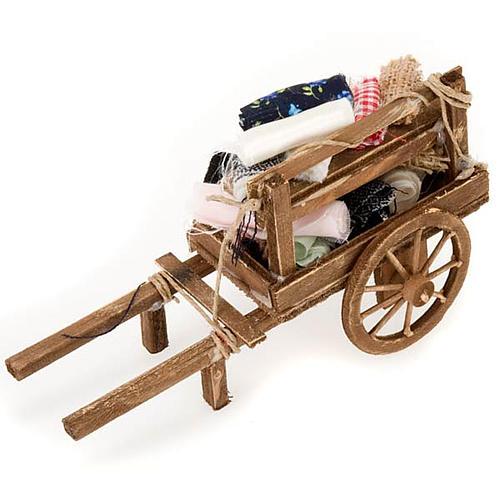Décor crèche chariot bois avec tissus 2