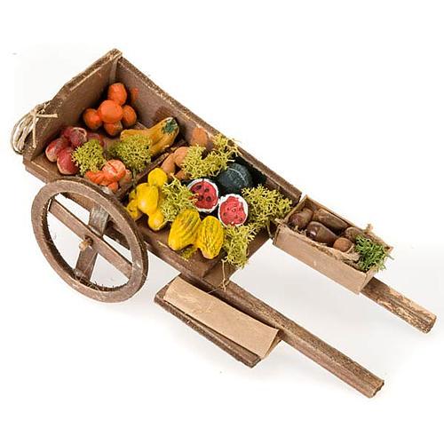 Wóz drewniany owoce i warzywa z terakoty do szopki 1
