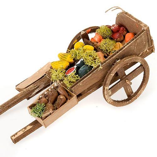 Wóz drewniany owoce i warzywa z terakoty do szopki 2