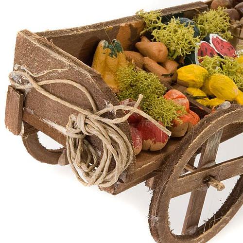 Wóz drewniany owoce i warzywa z terakoty do szopki 3
