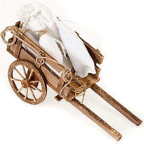 Crèche Napolitaine: Accessoire crèche chariot avec sacs terre cuite