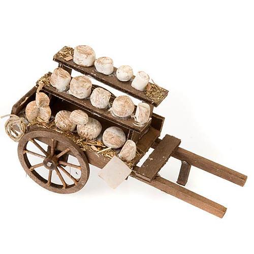Carretto legno formaggi terracotta presepe 1