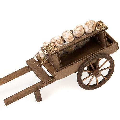 Carretto legno formaggi terracotta presepe 3