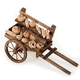 Neapolitan Nativity Scene: Neapolitan set accessory handcart wood with bread terracotta
