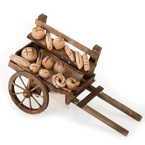 Carro de madera con panes  terracota belén 1