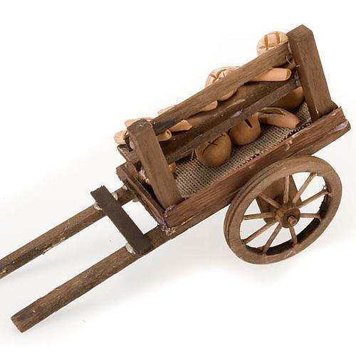 Carro de madera con panes  terracota belén 3