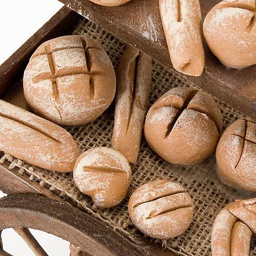 Accessoire crèche chariot avec pain terre cuite 2