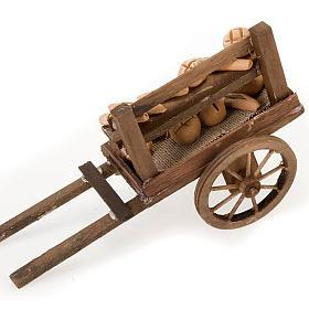 Carrinho madeira pão terracota presépio s3