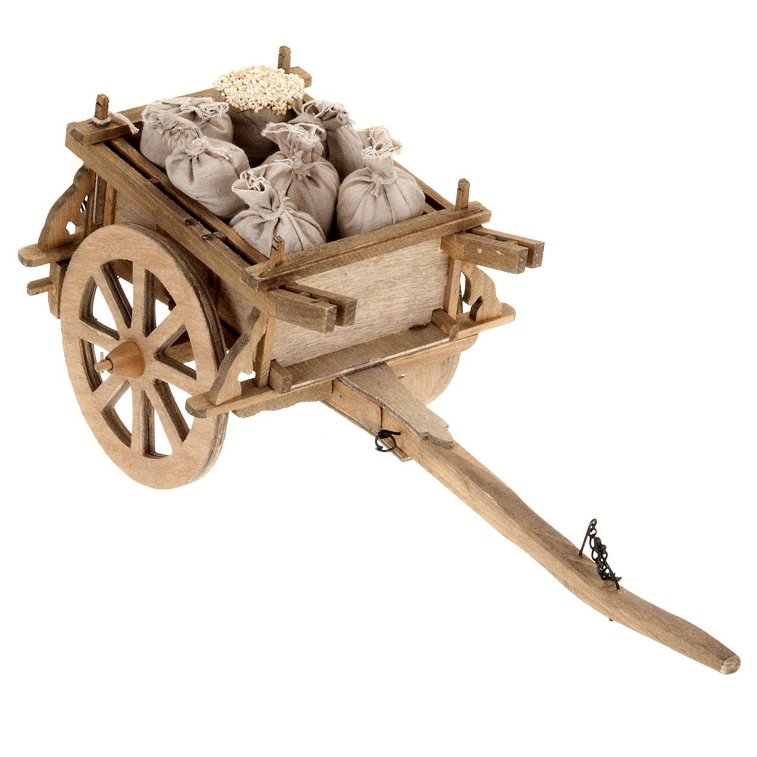 Carrito de madera para pesebre 12x15 cm 4