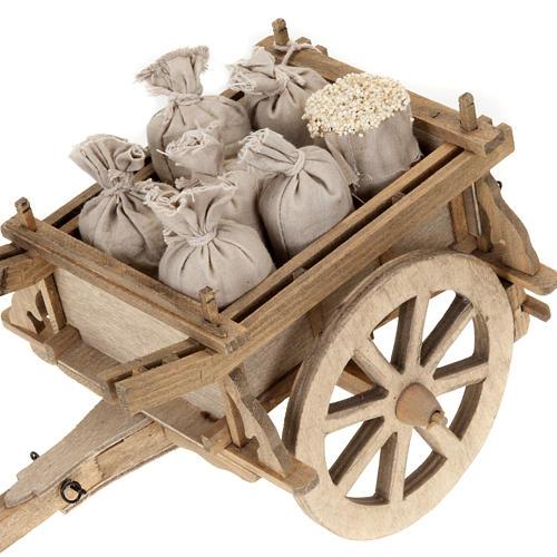 Carrito de madera para pesebre 12x15 cm 2