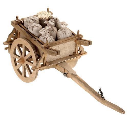 Charrette bois crèche 12x15 cm 1