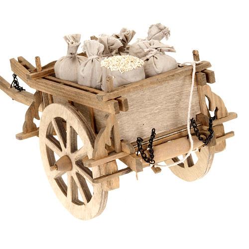 Carro legno per presepe 12 x 15 cm 4