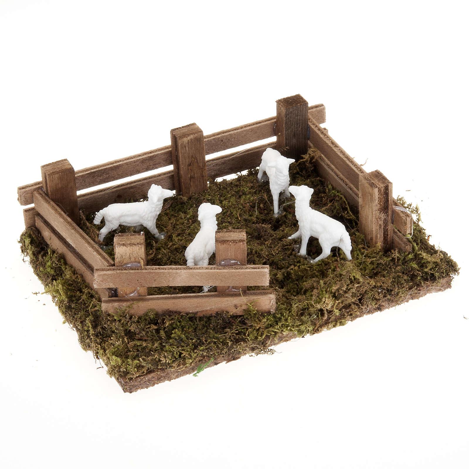 Pecore nel recinto presepe fai da te 10 cm 3