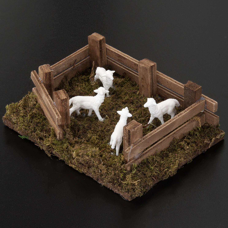 Owce w zagrodzie 12x16 cm szopka zrób to sam 10 cm 3
