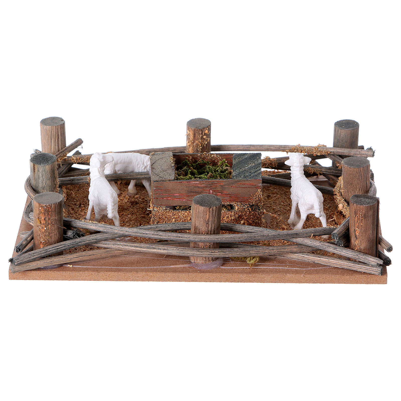 Nativity setting, sheep in the pen 10cm 3