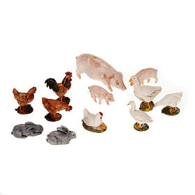 Nativity scene figurines, farm yard animals 12pcs s1