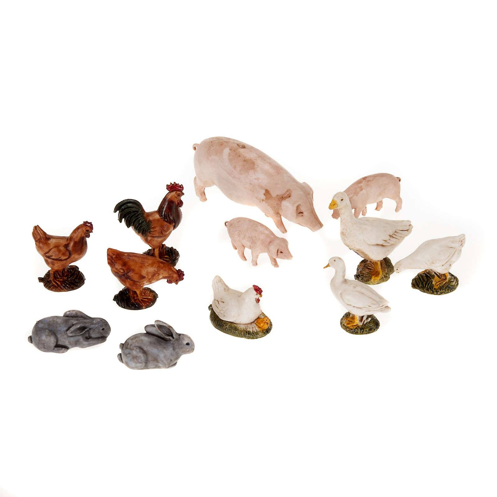 Nativity scene figurines, farm yard animals 12pcs 3