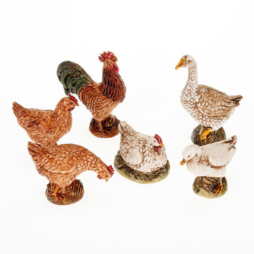 Nativity scene figurines, gallinaceans 6pieces 1