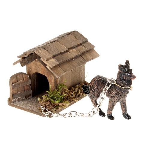 Perro a la cadena para belén de 10 cm 2