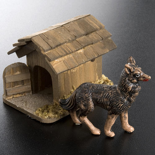 Perro a la cadena para belén de 10 cm 4
