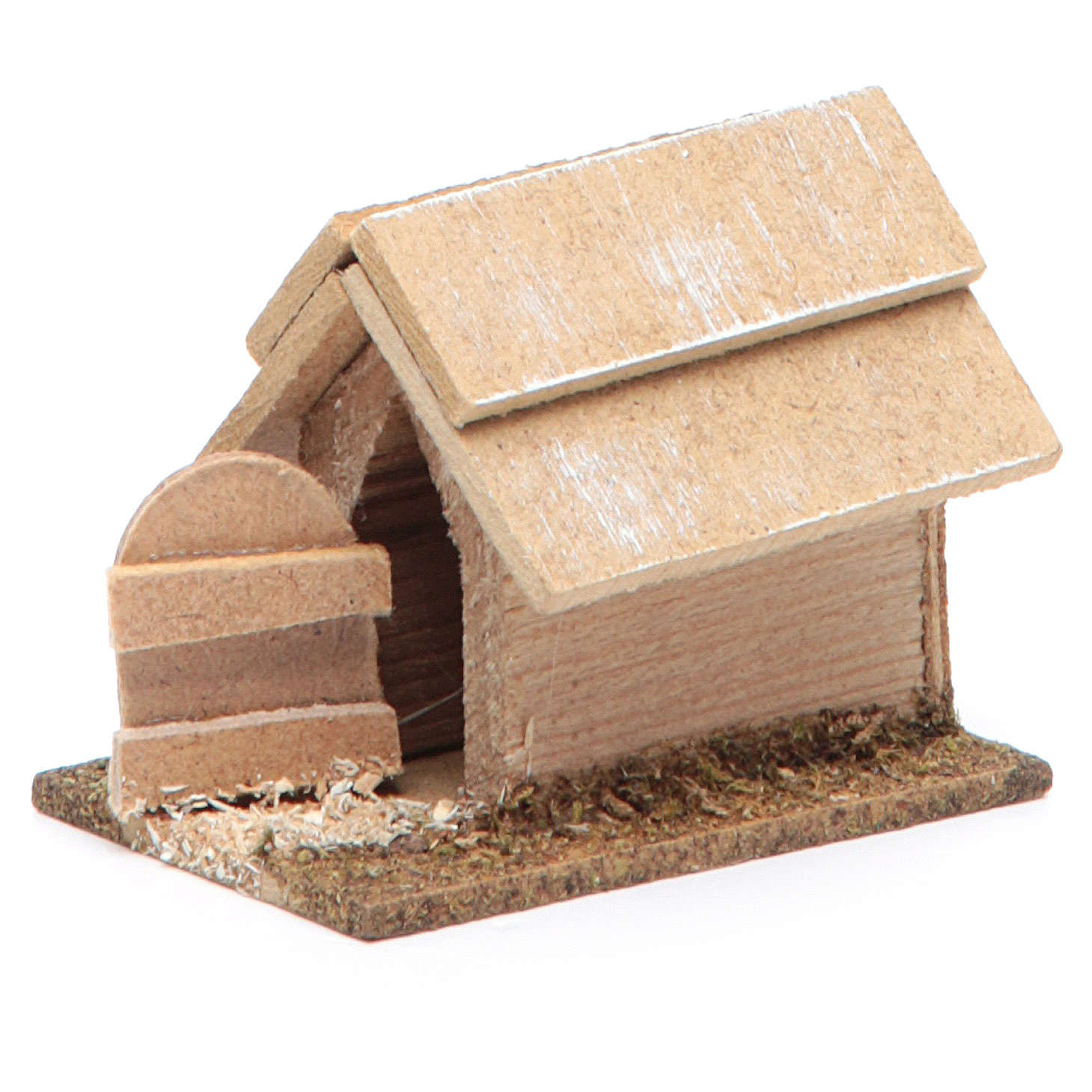 Cuccia per cane in legno per presepe 10 cm 3