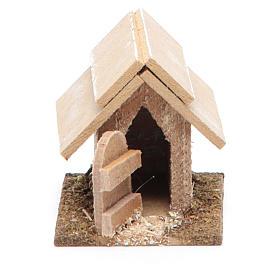 Cuccia per cane in legno per presepe 10 cm s1