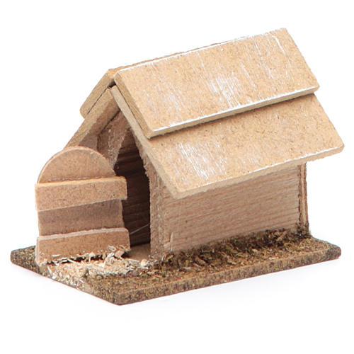 Cuccia per cane in legno per presepe 10 cm 2