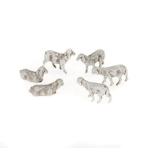 Pecorelle per presepe 10 cm 6 pz 1