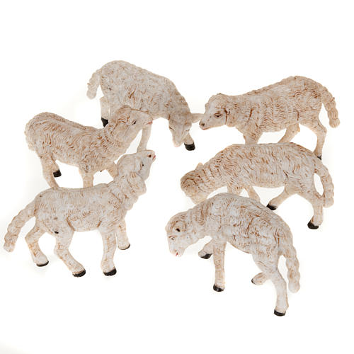 Nativity scene figurines, sheep 14 cm, 6 pieces 1