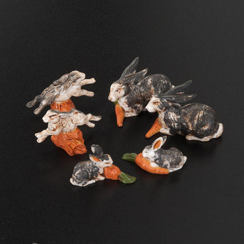 Conigli per presepe 6 pz. 10 cm 2