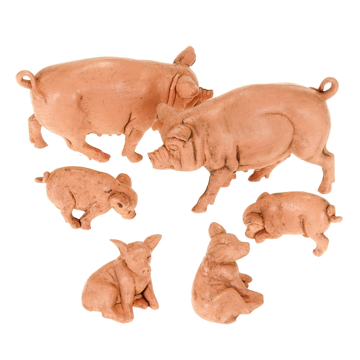 Nativity scene figurines, pigs family 10cm, 6 pieces 3