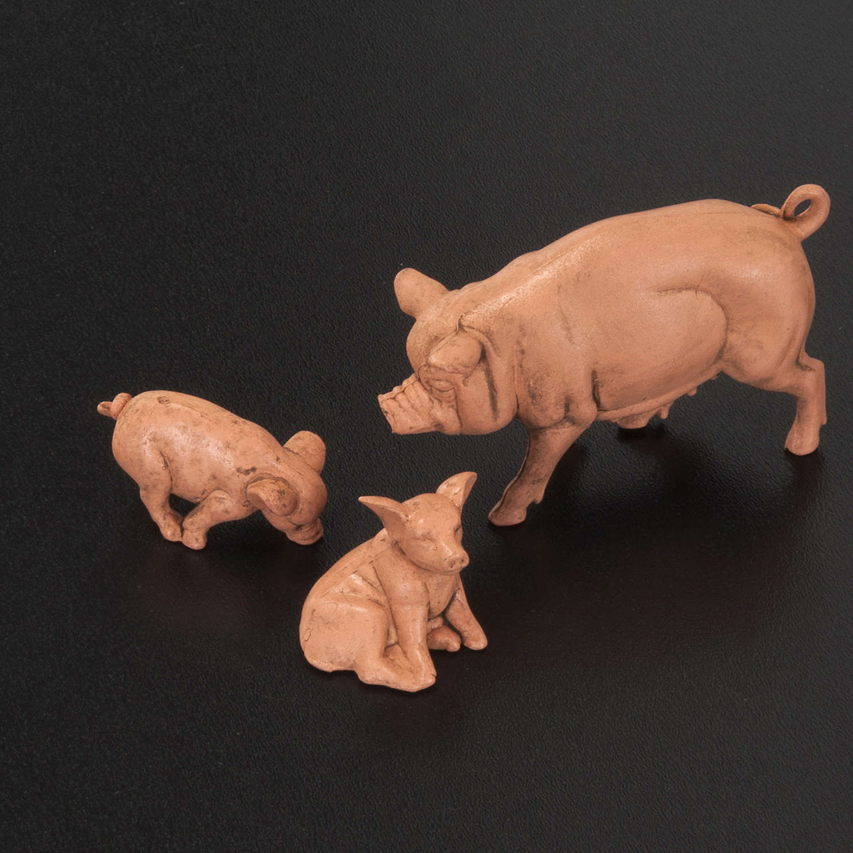 Famiglia di maiali per presepe 6 pz. 10 cm 3
