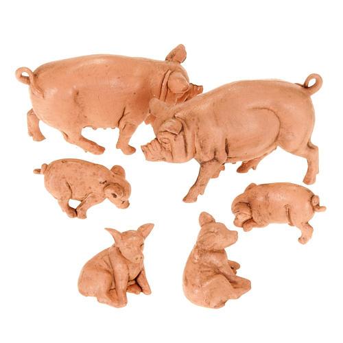 Famiglia di maiali per presepe 6 pz. 10 cm 1