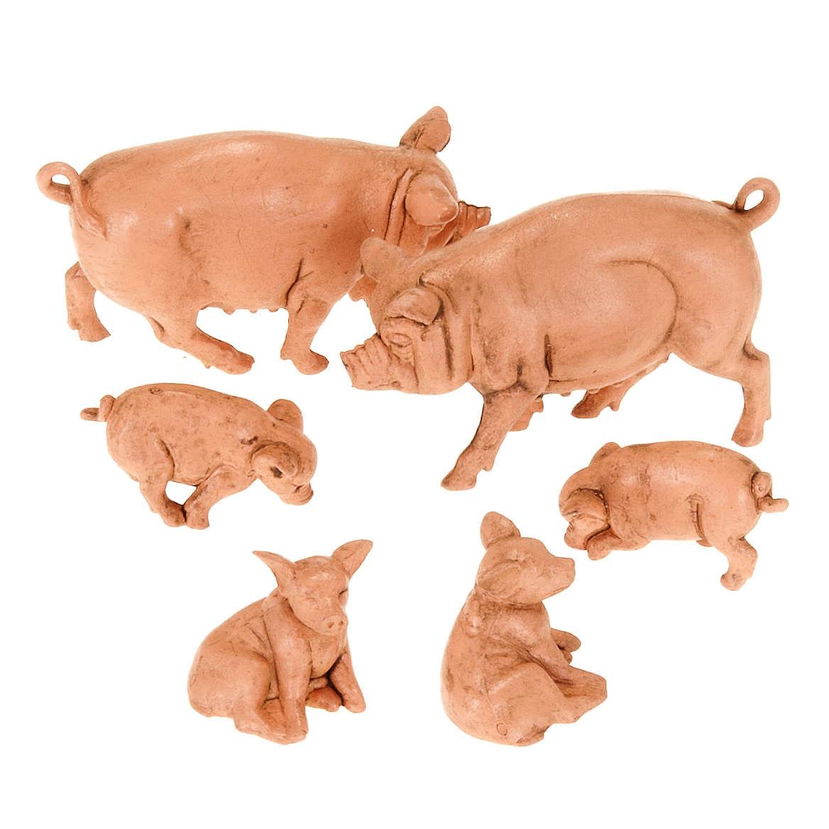 Família de porcos para presépio 6 peças 10 cm 3
