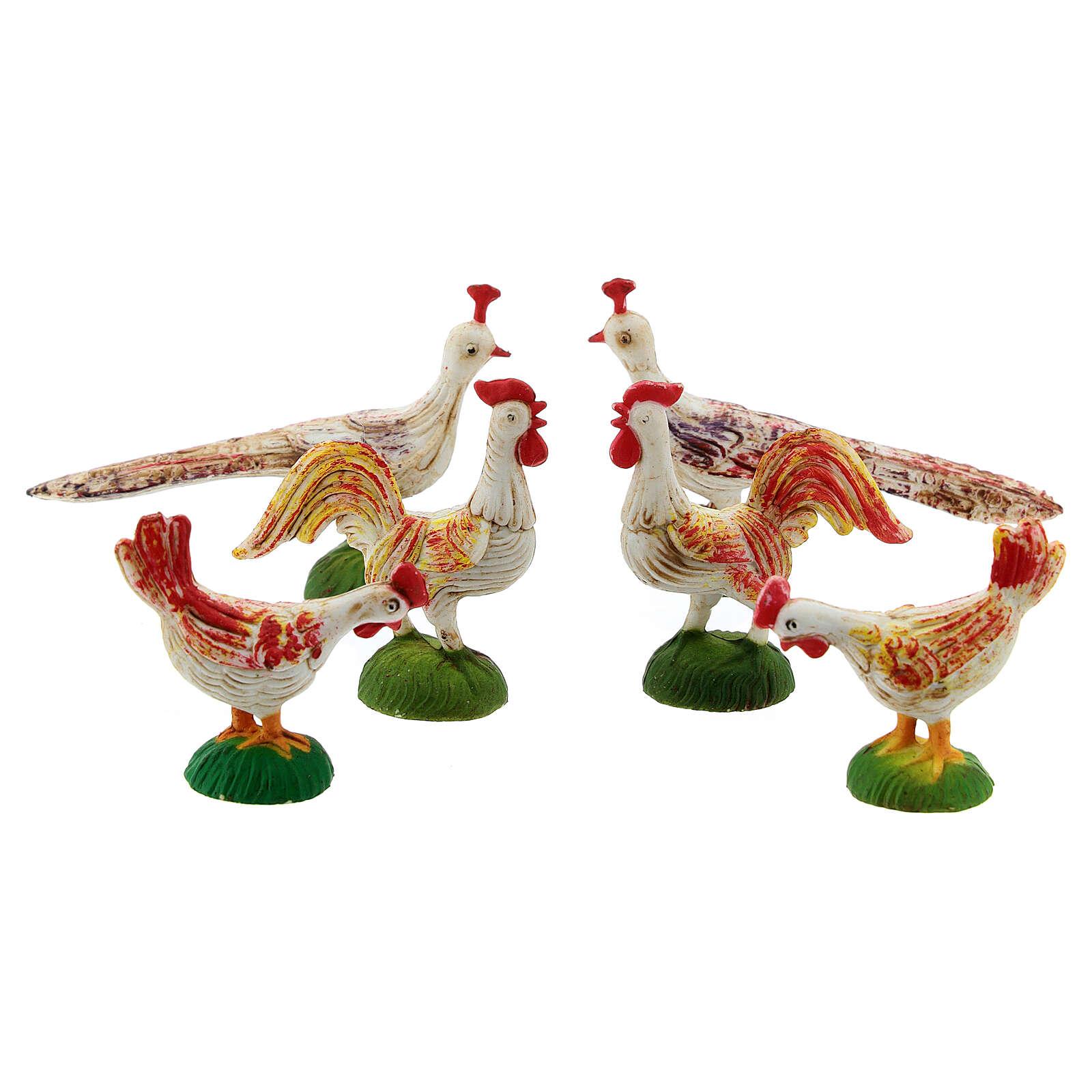 Gallos, gallinas y pavón para belén de 10 cm, 6 pz. 3