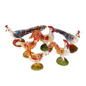 Animales para el pesebre: Gallos, gallinas y pavón para belén de 10 cm, 6 pz.