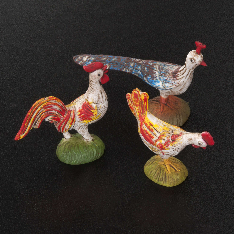 Galli, galline e pavoni per presepe 6 pz 10 cm 3