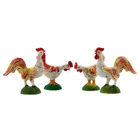Galli, galline e pavoni per presepe 6 pz 10 cm s3
