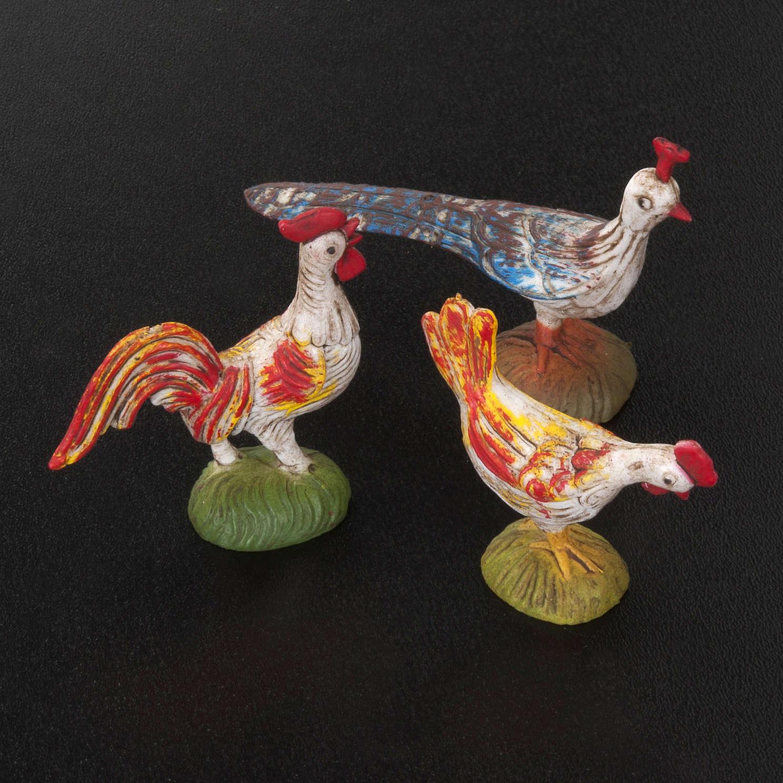 Nativity scene figurines, cocks, hens and peacocks, 6 pieces 3