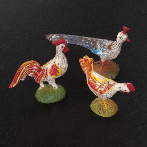 Nativity scene figurines, cocks, hens and peacocks, 6 pieces 2
