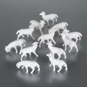 Animals for Nativity Scene: White Sheep 1.1 x 2 cm, 12 pcs set
