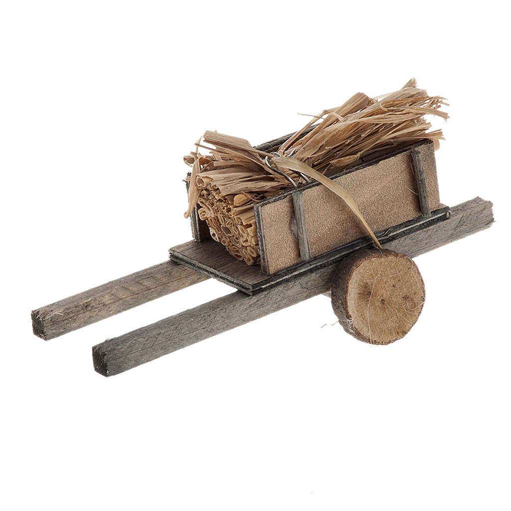 Nativity scene accessory, cart with straw bundles 4